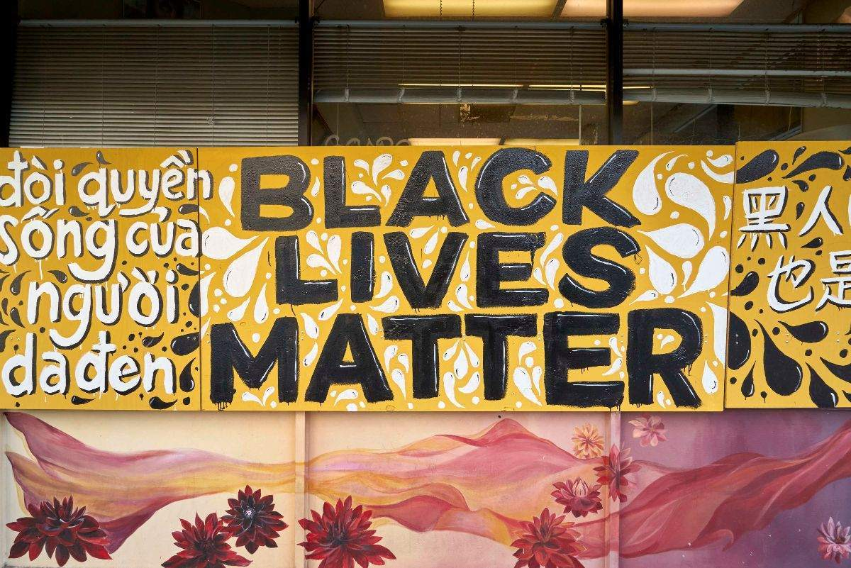 BLM mural in Oakland's Chinatown district.